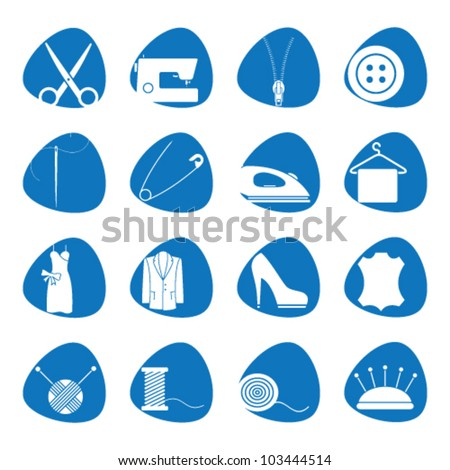 Vector illustration icons on sewing - stock vector
