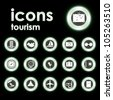 Vector illustration icons on tourism - stock vector