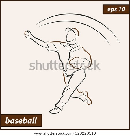 Vector illustration. Illustration shows a baseball player throwing the ball. Sport. Baseball