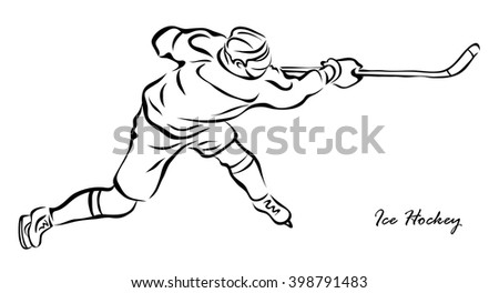 Vector illustration. Illustration shows a hockey player in attack. Ice Hockey