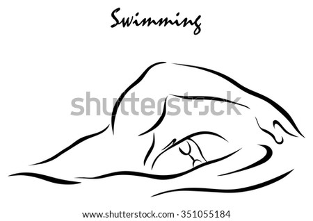 Vector illustration. Illustration shows a kind of sport. Swimming