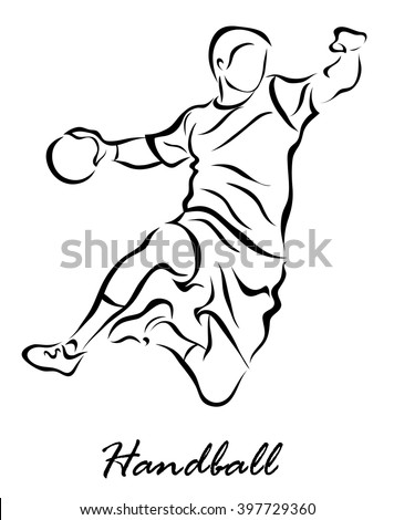 Vector illustration. Illustration shows a player throws a ball in a jump. Handball