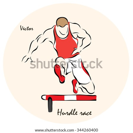 Vector illustration. Illustration shows a Summer Olympic Sports. Hurdle race? - stock vector
