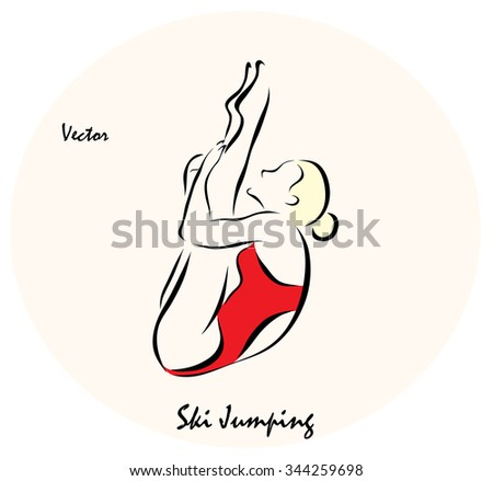 Vector illustration. Illustration shows a Summer Olympic Sports. Jumping into water from a springboard?