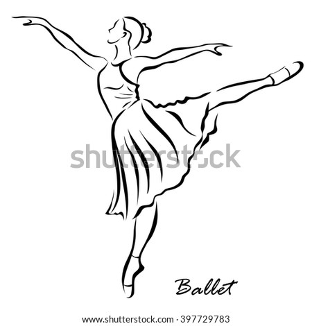 Vector illustration. Illustration shows a the girl is engaged in ballet
