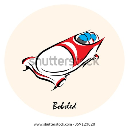 Vector illustration. Illustration shows the winter sports. Bobsled