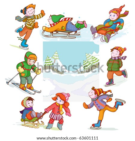 vector illustration, image of happy children sleighing, cartoon concept.