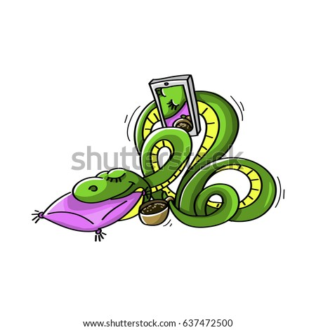 Vector illustration in cartoon style. The snake is sleeping and takes pictures of your morning coffee