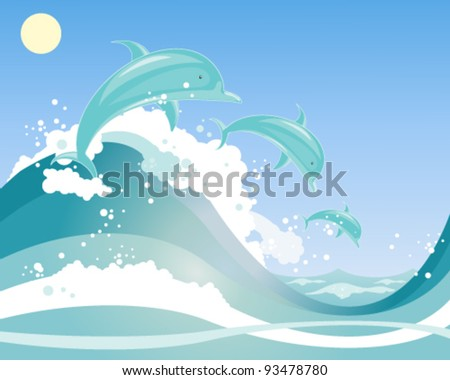 vector illustration in eps 10 format of a three beautiful dolphins playing in blue frothy waves under a blue sky - stock vector