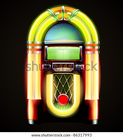 Vector illustration in eps 10 of retro style detailed classic juke box. - stock vector