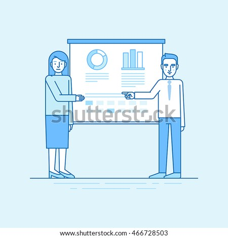 Vector illustration in flat linear style and blue colors - business conference and team training event - man and woman speaking in front of the screen with information and statistics