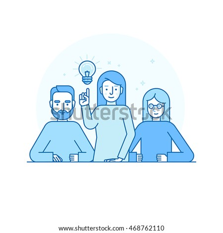 Vector illustration in flat linear style and blue colors - creative team concept - man and woman solving problems and brainstorming