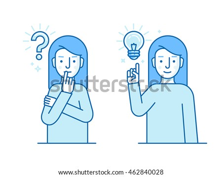 Vector illustration in flat linear style and blue colors - problem solving concept - woman thinking with question mark and light bulb icons - creative idea