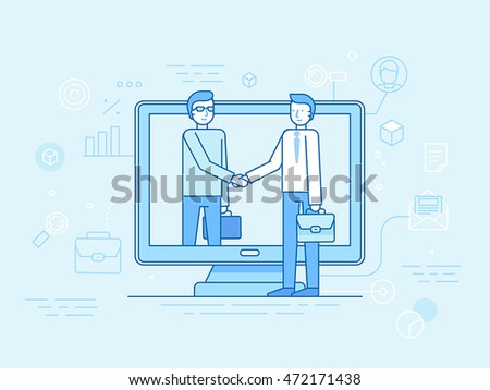 Vector illustration in flat linear style and blue - outsource business and remote work concept - partners shaking hands - online cooperation