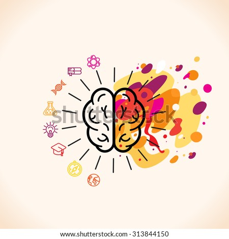 Vector illustration in flat linear style - left and right brain hemispheres - analytical and creative thinking - stock vector