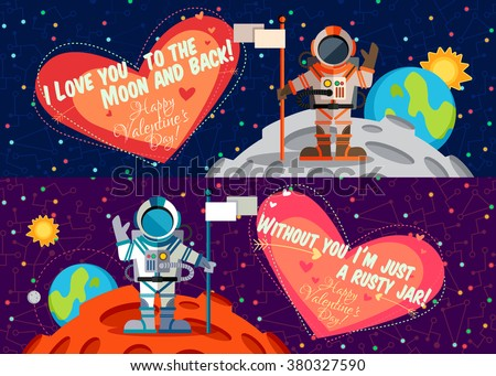 Vector illustration in flat style about outer space. Planets in the universe. Happy valentines day greeting card - stock vector