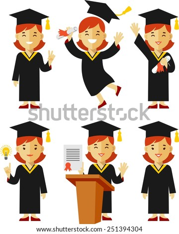 Vector illustration in flat style of young graduate girl character - stock vector