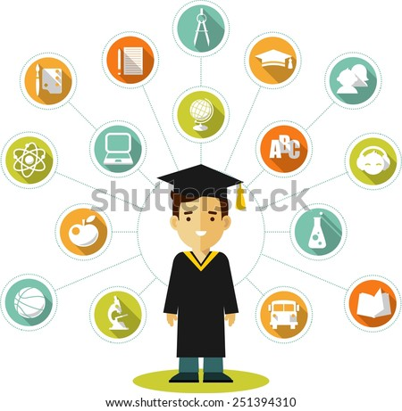 Vector illustration in flat style of young graduates student and education icons - stock vector