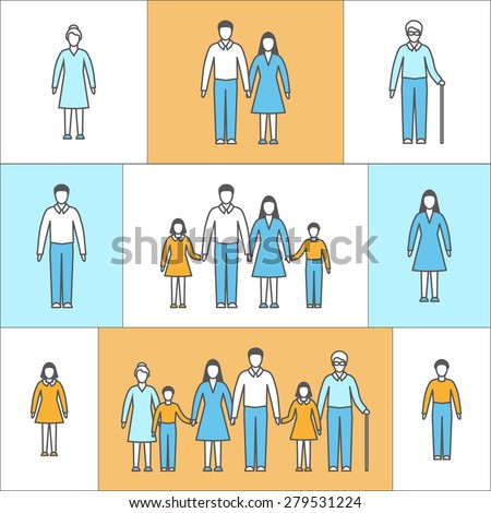 Vector illustration in linear style. Flat icons with people. Family: mother, father, daughter, son, grandfather, grandmother. People of different ages in outline style: girl, boy, woman, man, seniors. - stock vector