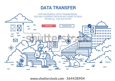 Vector illustration in modern flat style. Data transfer on distance, Internet traffic, online communication, cloud computing, wireless network. - stock vector