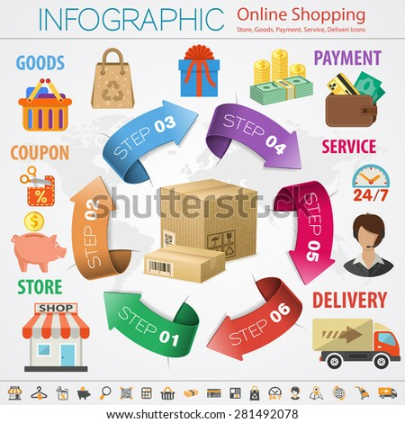 Vector illustration in Realistic and flat style icons on theme of retail sales, marketing, online shopping, delivery of goods, such as megaphone, shop, support, piggy bank, cash discounts - stock vector
