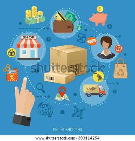 Vector illustration in Realistic and flat style icons on theme of retail sales, marketing, online shopping, delivery of goods, such as money, shop, support, piggy bank, cash discounts - stock vector