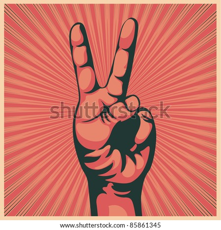 Vector illustration in retro style of a hand with victory sign - stock vector