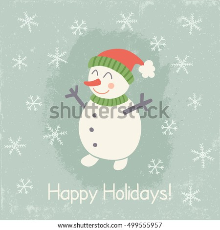 vector illustration in retro style with image of a snowman and snowflakes