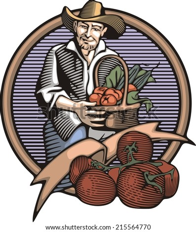 Vector illustration in retro woodcut style of a farmer, happy with the vegetable harvest.