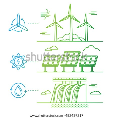 Vector illustration in simple linear flat style - alternative and renewable energy - wind-powered electrical generators, hydro electro station and solar panels - infographics design elements