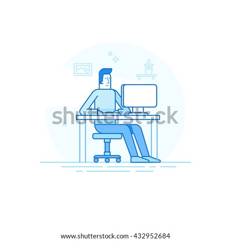 Vector illustration in trendy flat linear style and blue colors - man working sitting at the desk with computer - creative and freelance work concept in home office - stock vector