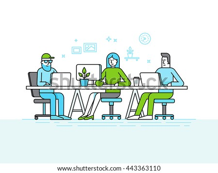 Vector illustration in trendy flat linear style and infographics design elements - coworking office space - creative team of people working at the computers and laptops - online business and start up - stock vector