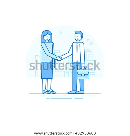 Vector illustration in trendy flat linear style in blue color - business agreement concept - woman and man shaking hands - start up development and investment attracting - stock vector