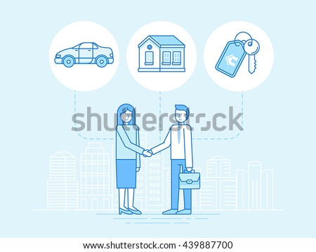 Vector illustration in trendy flat linear style - sharing economy and collaborative consumption concept and infographic elements - peer to peer lending and renting - carsharing, coworking, coliving - stock vector
