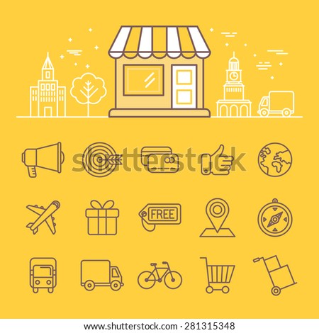 Vector illustration in trendy linear style - online shopping icons and signs - store building with city landscape  - stock vector