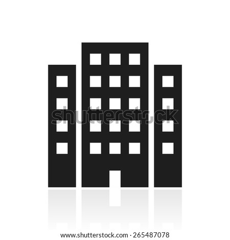 Vector illustration includes a single, black, Office Building icon on a white background. - stock vector