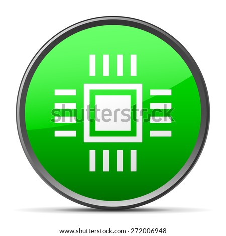Vector illustration includes a single, white, Computer Chip icon on a green, circle shape, color button on a white background. - stock vector