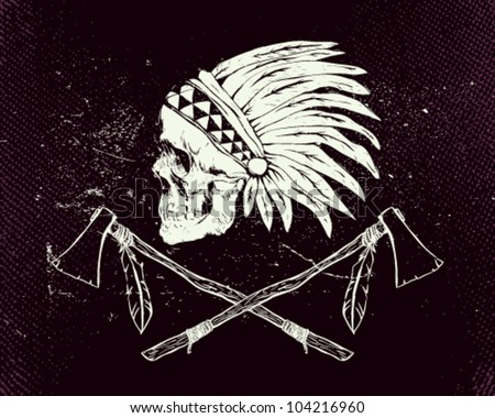 Vector illustration indian skull and tomahawk - stock vector