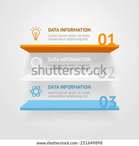 Vector illustration. Infografic color shelves options banner. - stock vector