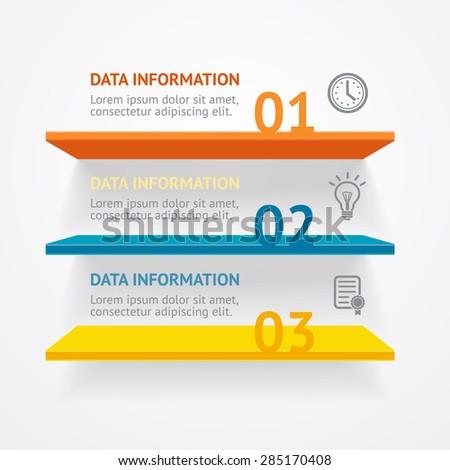 Vector illustration. Infografic colorful shelves options banner. - stock vector
