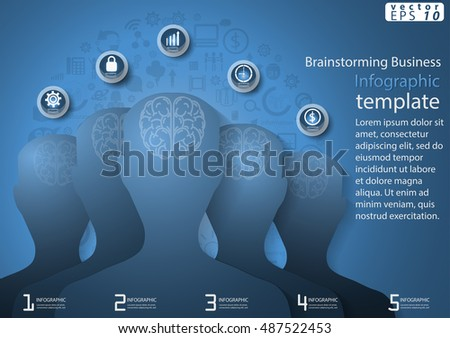 Vector illustration Infographic  Brainstorming Business modern Idea and Concept with brain,icon,flat design