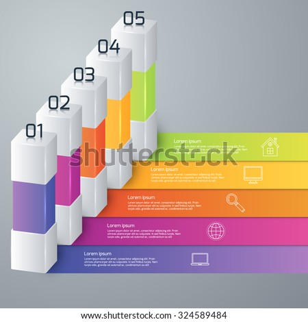Vector illustration infographic five options. - stock vector
