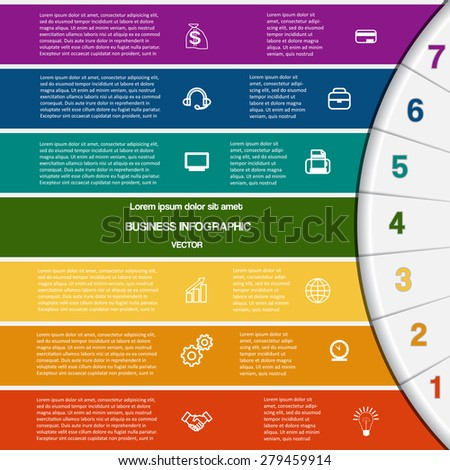Vector illustration infographic for success business project and other Your variant template with text areas on seven positions, 7 colour strips and semicircle - stock vector