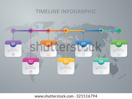 Vector illustration infographic timeline of seven options. - stock vector