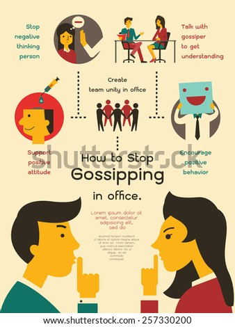 Vector illustration infographics about how to stop gossipping in office. Flat design.  - stock vector