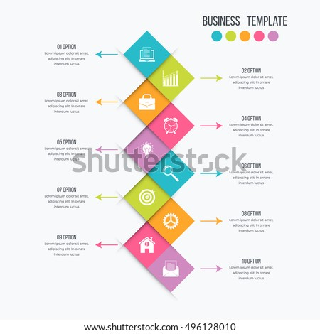 Vector illustration infographics 10 options. Infographics for workflow layout, banner, diagram. Beautiful infographics for web design. Modern infographics element. Infographics color design