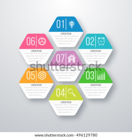 Vector illustration infographics 7 options. Infographics for workflow layout, banner, diagram. Beautiful infographics for web design. Modern infographics element. Infographics color design