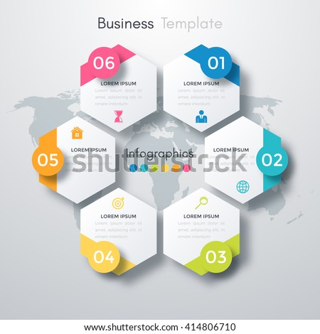 Vector illustration infographics six options. Template for brochure, business, web design - stock vector