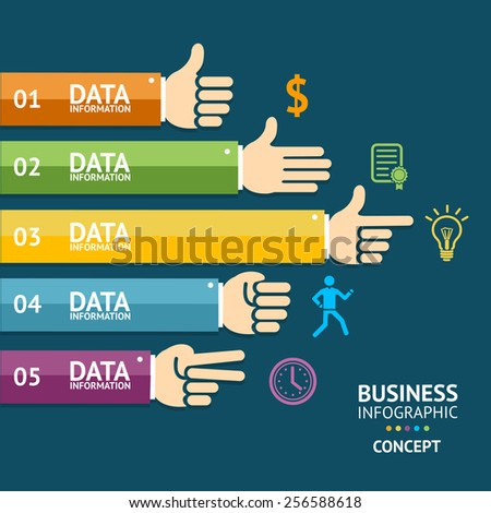 Vector illustration. Infographics with hands for business, finance. Flat Design - stock vector
