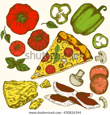 Vector illustration ink colored hand drown Italian tasty pizza ingredients set: tomato basil mushroom, onion pepper cheese , olives and eggs, bacon. Isolated on white background. Elements for menu. - stock vector